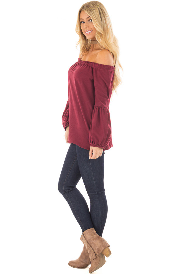 Burgundy Off the Shoulder Bubble Sleeve Sweater side full body