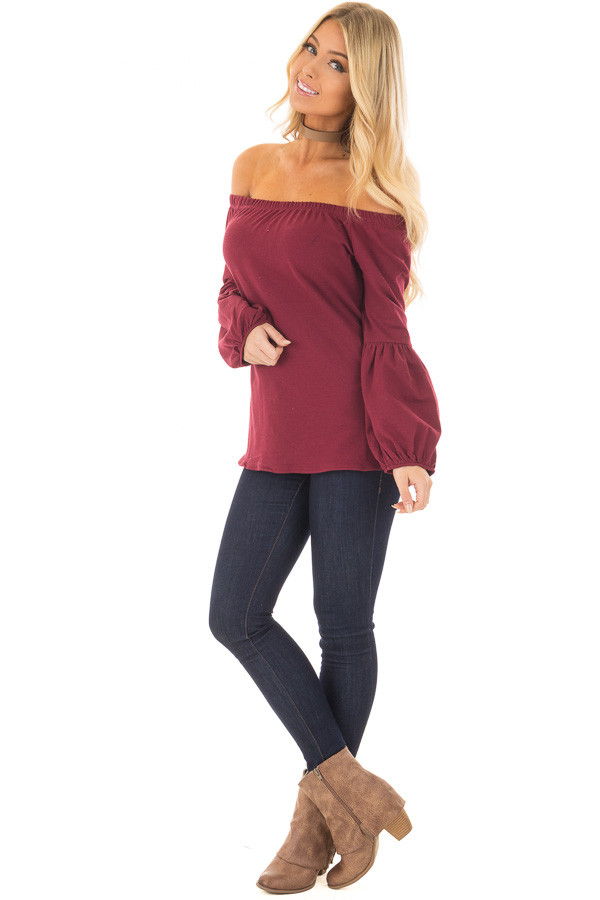 Burgundy Off the Shoulder Bubble Sleeve Sweater front full body