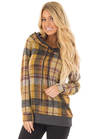 Mustard Plaid Hooded Sweater with Charcoal Hemline front close up