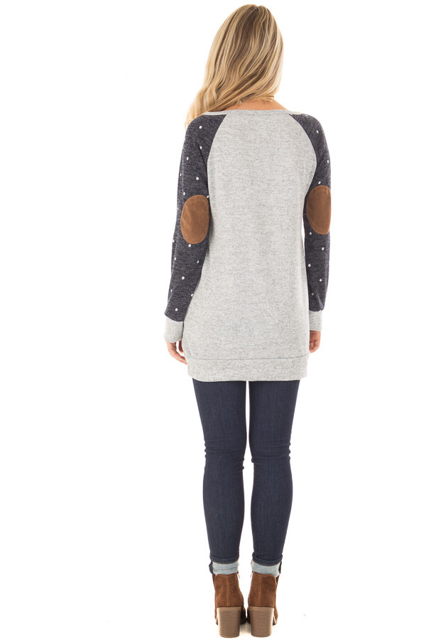Heather Grey Sweater with Navy Polka Dot Raglan Sleeves back full body