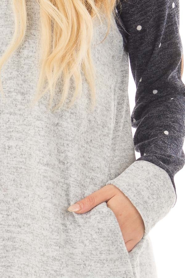 Heather Grey Sweater with Navy Polka Dot Raglan Sleeves front detail