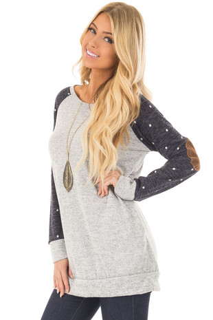 Heather Grey Sweater with Navy Polka Dot Raglan Sleeves front closeup