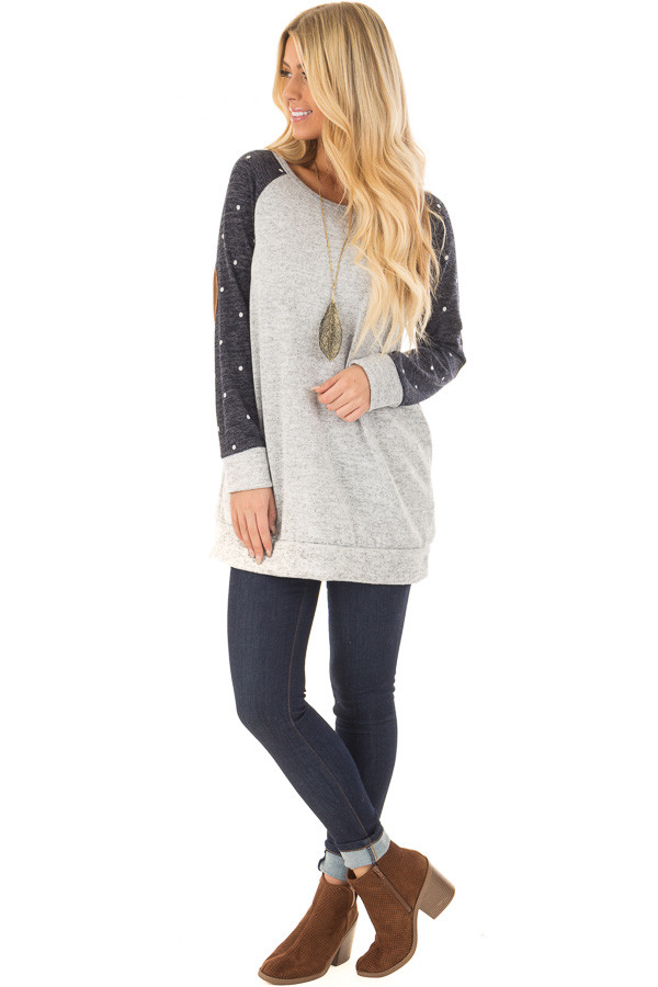 Heather Grey Sweater with Navy Polka Dot Raglan Sleeves front full body
