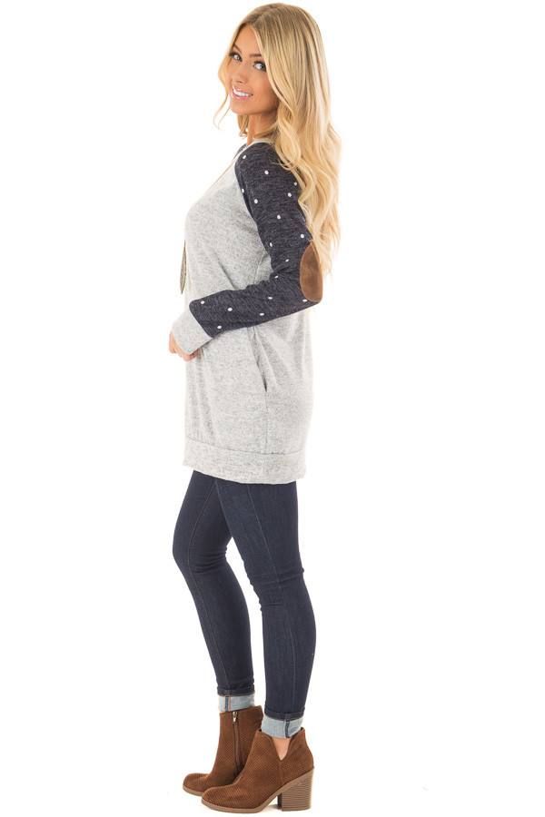 Heather Grey Sweater with Navy Polka Dot Raglan Sleeves side full body