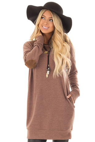 Mocha Oversized Sweater with Faux Suede Elbow Patches front close up