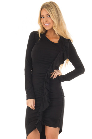 Black Dress with Side Ruffle and Asymmetric Hemline front close up
