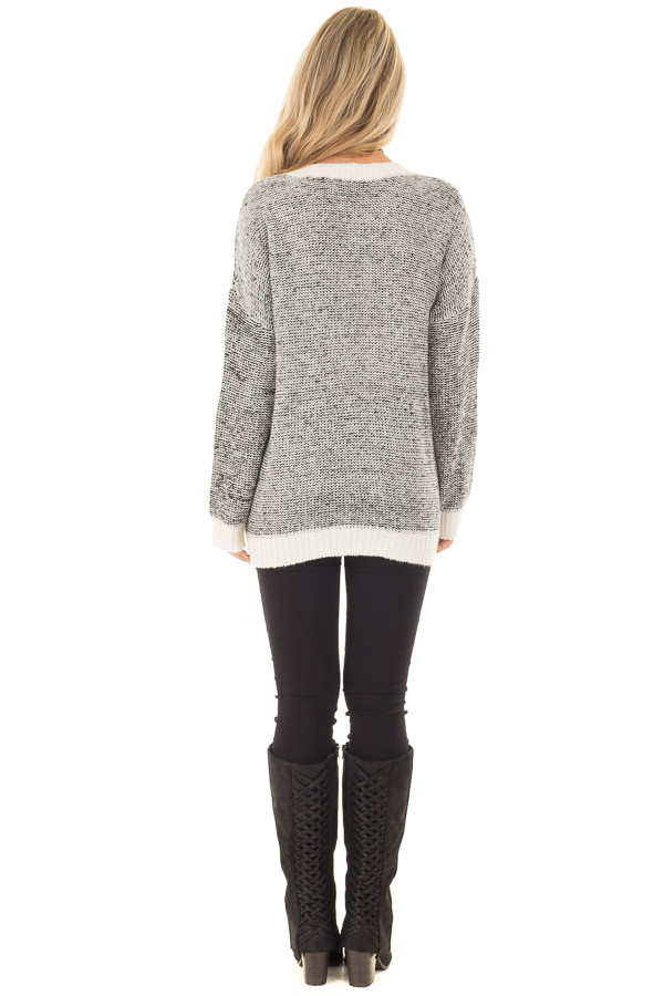 Black and White Two Tone Sweater with Off White Trim back full body