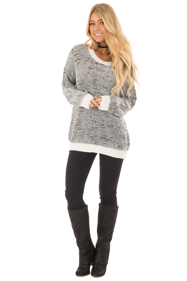 Black and White Two Tone Sweater with Off White Trim front full body