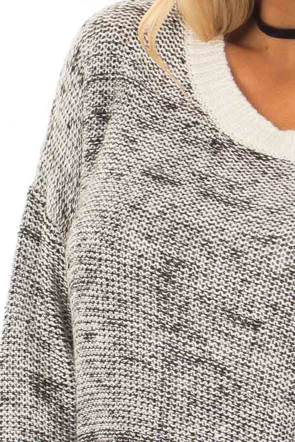 Black and White Two Tone Sweater with Off White Trim front detail