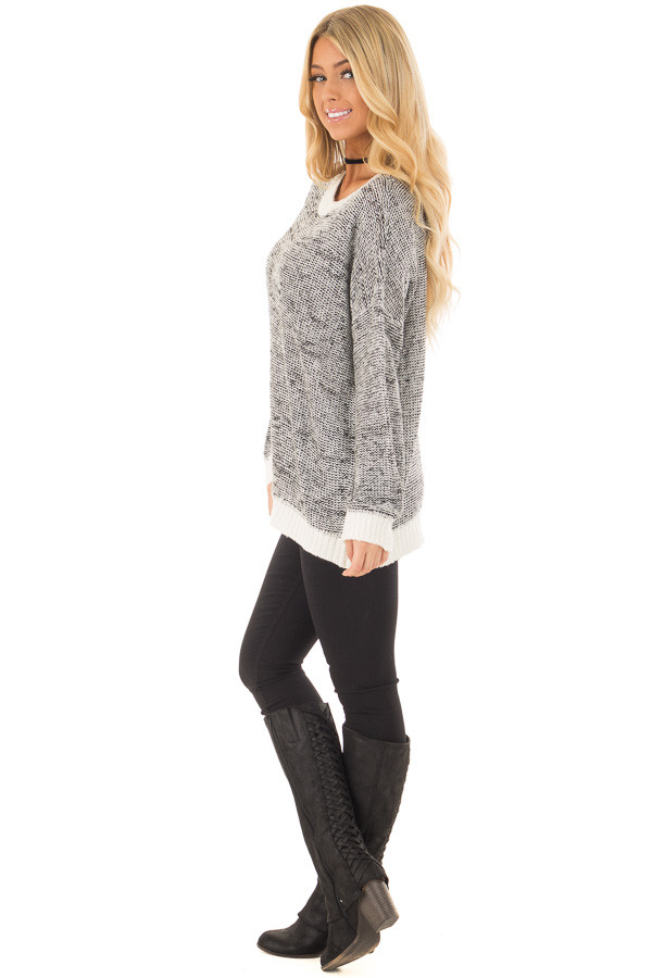 Black and White Two Tone Sweater with Off White Trim side full body