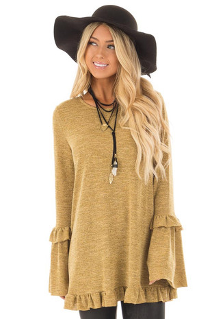 Mustard Long Bell Sleeve Top with Ruffle Details front close up