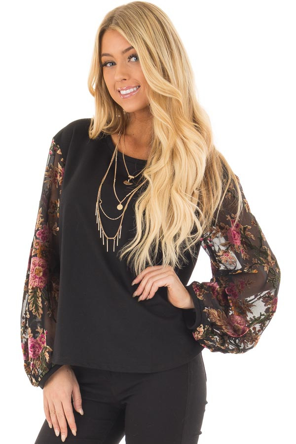 Black Top with Sheer Floral Print Long Sleeves front closeup