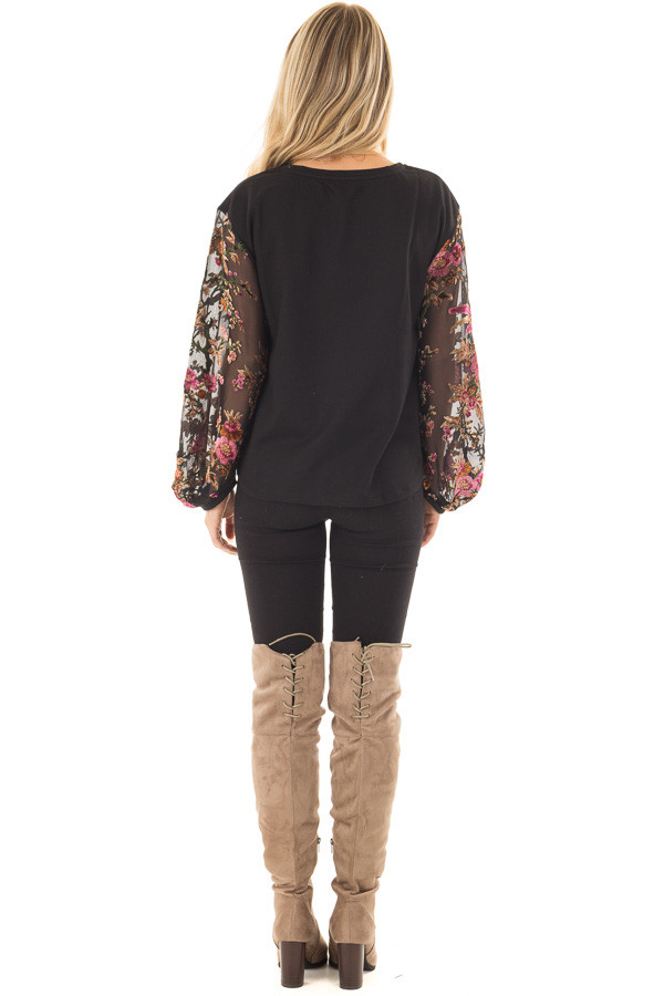 Black Top with Sheer Floral Print Long Sleeves back full body
