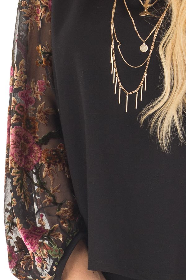Black Top with Sheer Floral Print Long Sleeves front detail