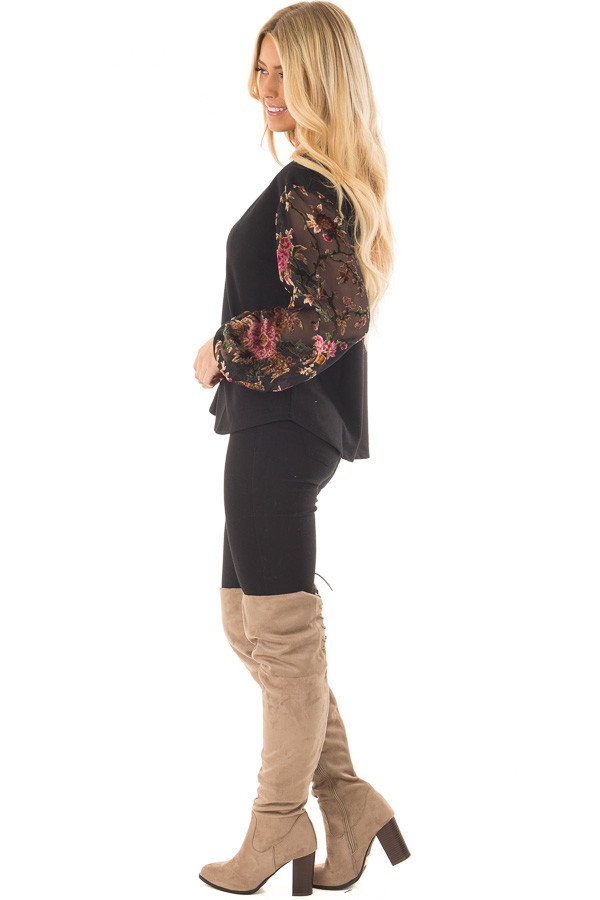 Black Top with Sheer Floral Print Long Sleeves side full body