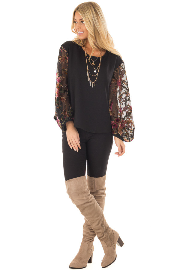 Black Top with Sheer Floral Print Long Sleeves front full body