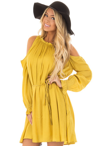 Mustard Long Sleeve Cold Shoulder Halter Dress front close up