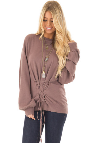 Mocha Long Sleeve Sweater with Lace Front Detail front closeup