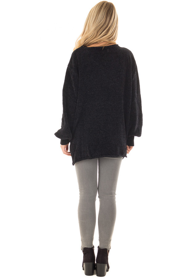 Black Soft Long Sleeve Knit Sweater back full body