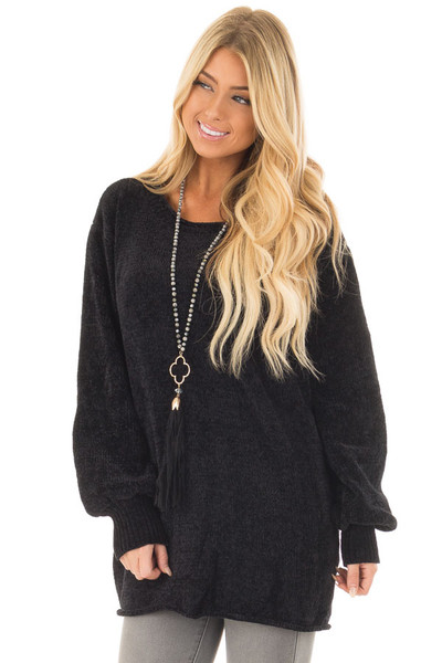 Black Soft Long Sleeve Knit Sweater front closeup