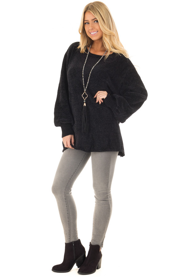 Black Soft Long Sleeve Knit Sweater front full body