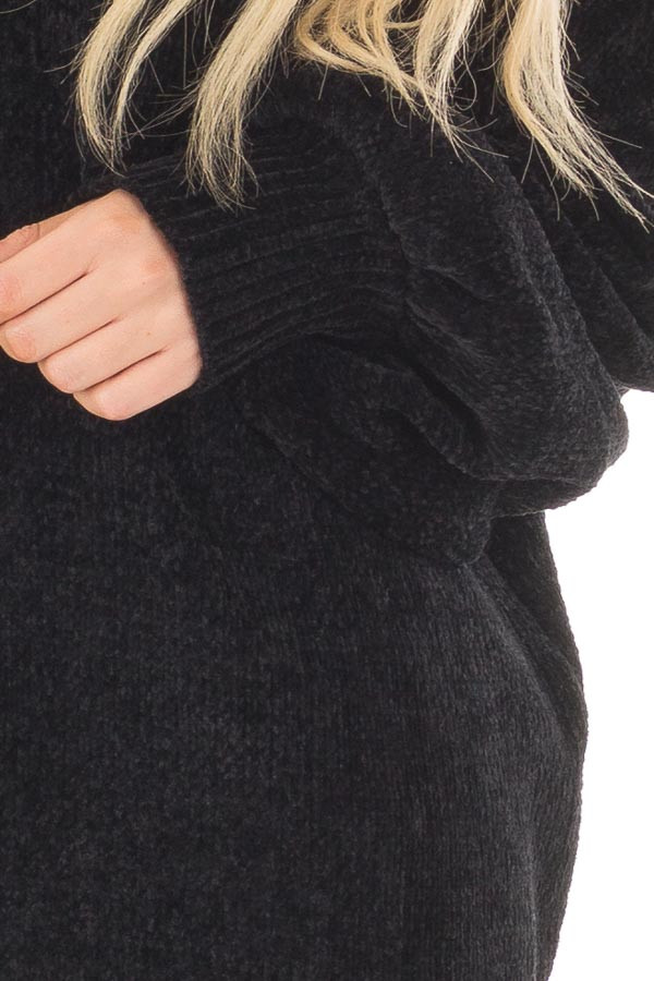 Black Soft Long Sleeve Knit Sweater front detail