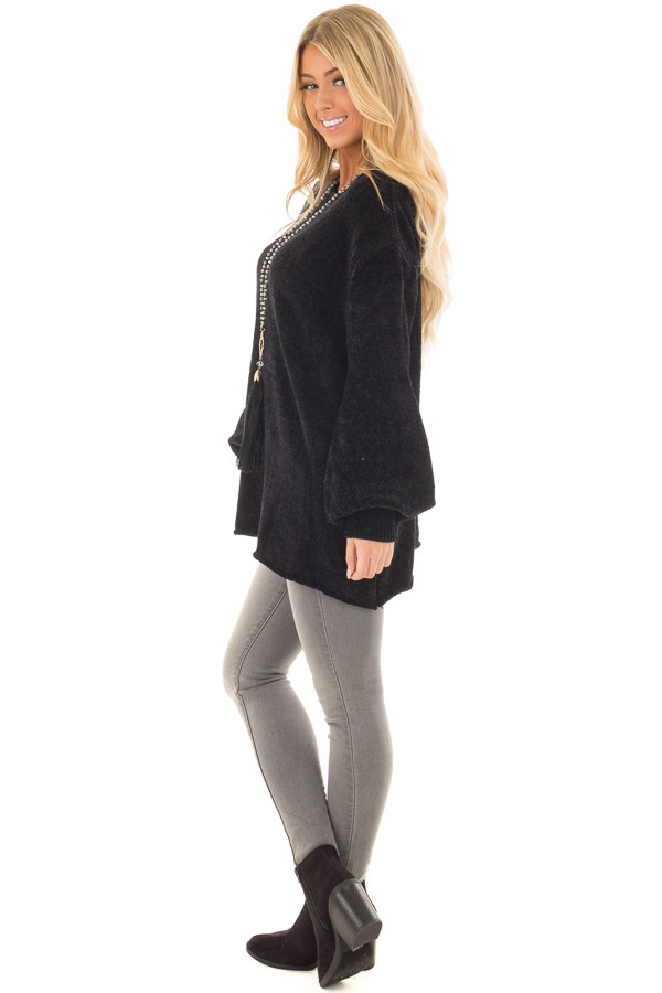 Black Soft Long Sleeve Knit Sweater side full body