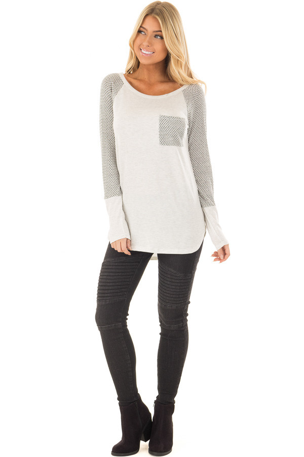Ivory Hi Low Raglan Sleeve Top with Breast Pocket front full body