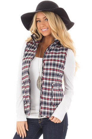 Red and Navy Plaid Zippered Vest with Front Pockets front closeup