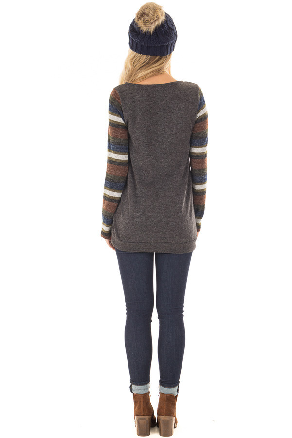 Charcoal Top with Striped Long Sleeves and Kangaroo Pocket back full body