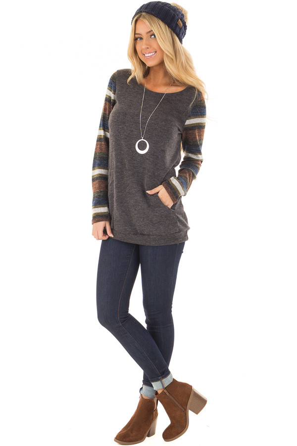 Charcoal Top with Striped Long Sleeves and Kangaroo Pocket front full body