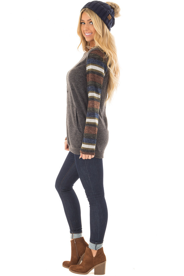 Charcoal Top with Striped Long Sleeves and Kangaroo Pocket side full body