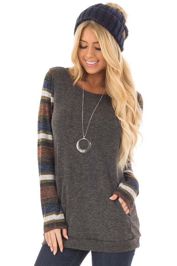 Charcoal Top with Striped Long Sleeves and Kangaroo Pocket front closeup