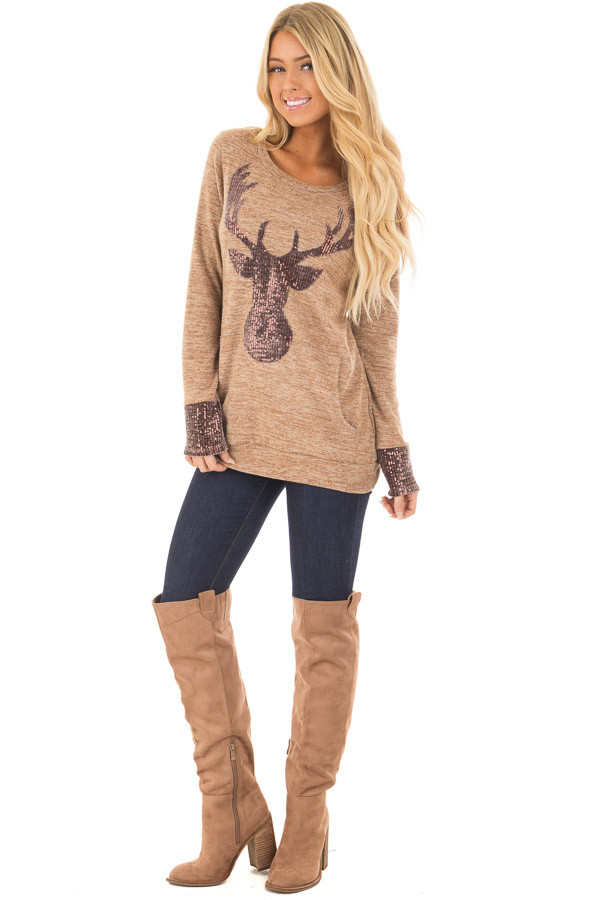 Camel Top with Sequin Reindeer and Kangaroo Pocket front full body