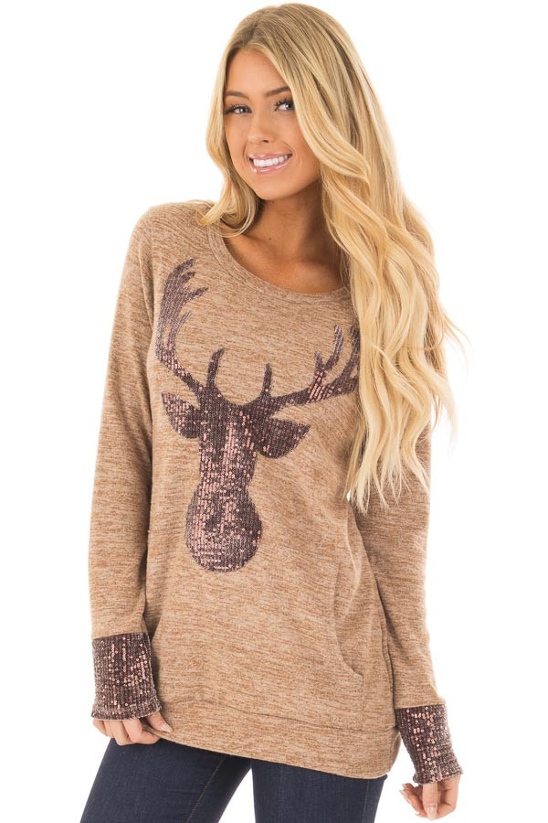 Camel Top with Sequin Reindeer and Kangaroo Pocket front closeup