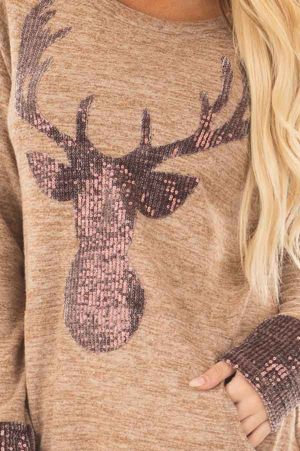 Camel Top with Sequin Reindeer and Kangaroo Pocket front detail