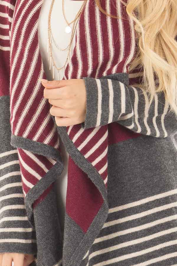 Burgundy and Charcoal Open Drape Striped Cardigan front detail