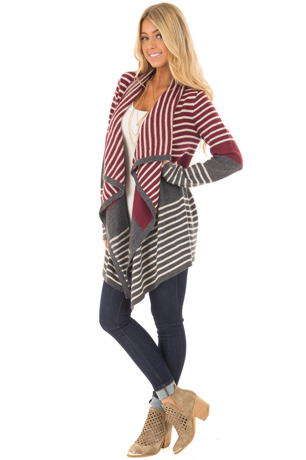 Burgundy and Charcoal Open Drape Striped Cardigan front full body