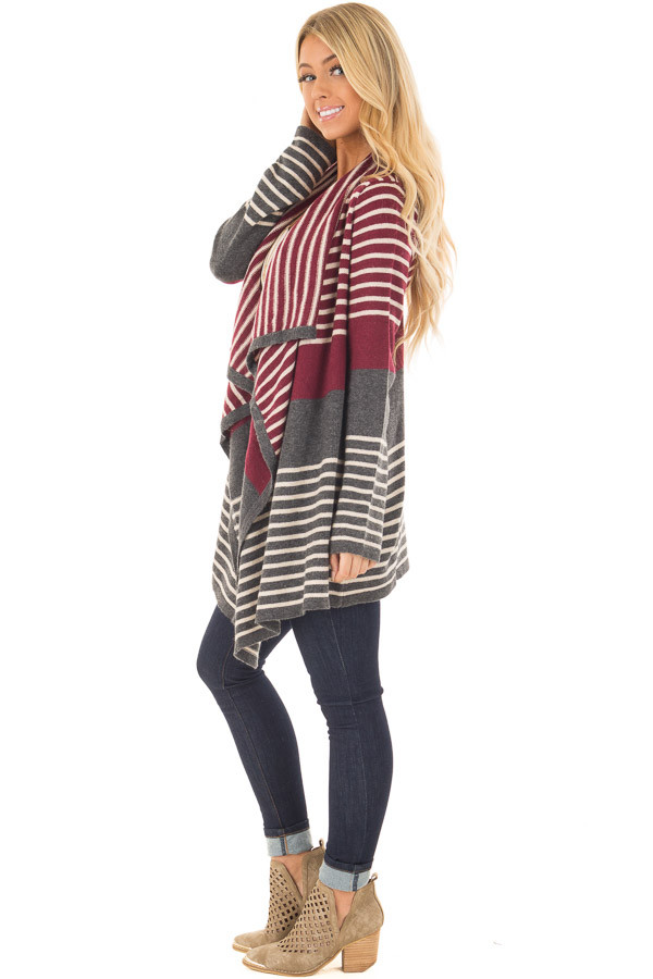 Burgundy and Charcoal Open Drape Striped Cardigan side full body