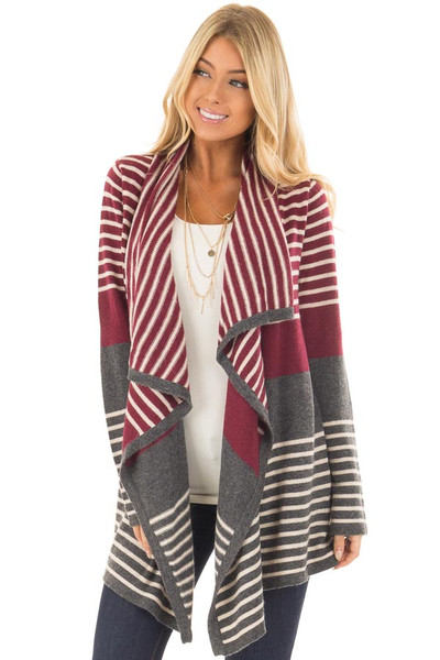 Burgundy and Charcoal Open Drape Striped Cardigan front closeup