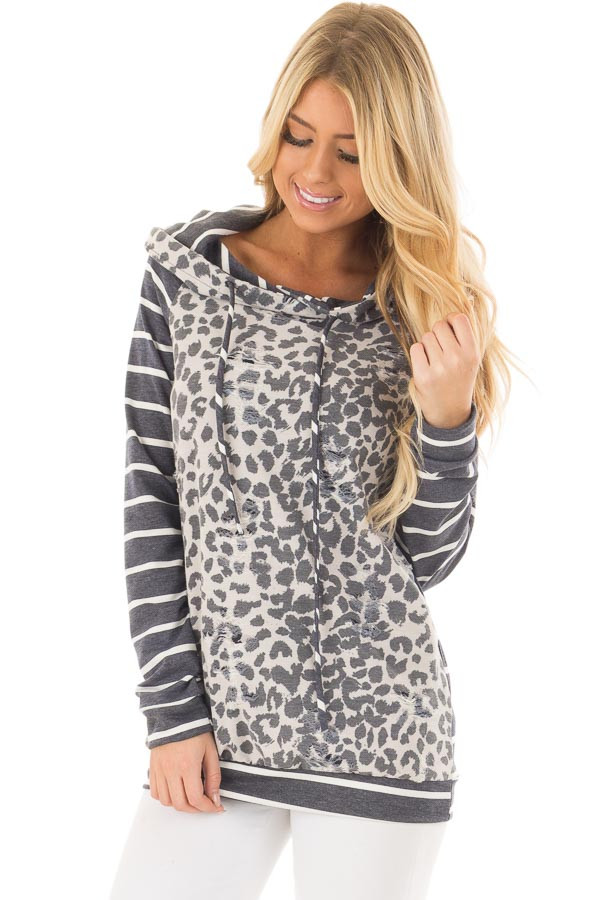 Ivory and Charcoal Leopard Print and Striped Hoodie front closeup