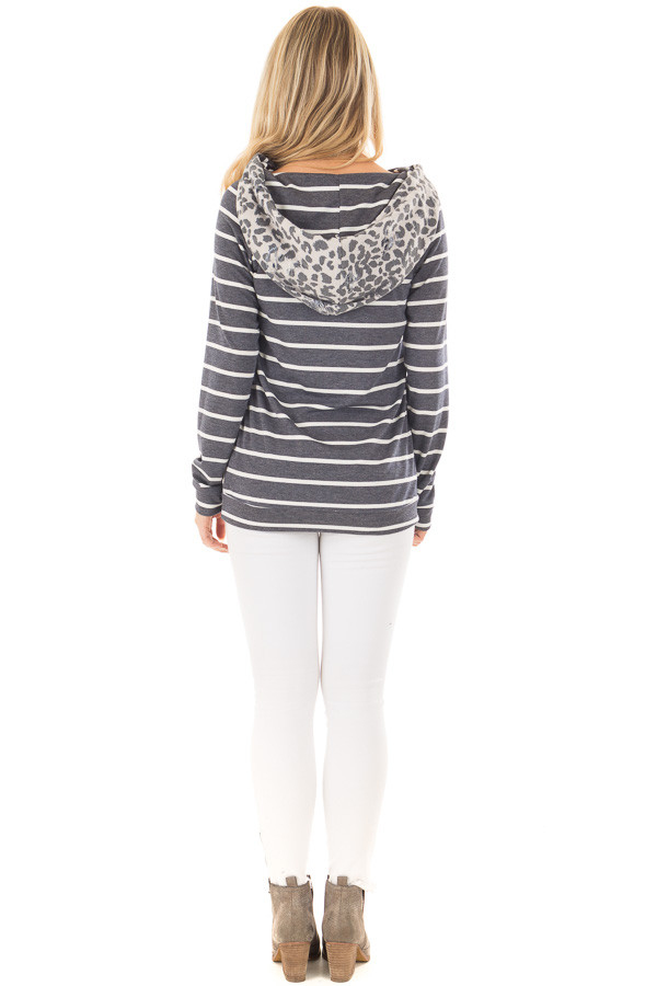 Ivory and Charcoal Leopard Print and Striped Hoodie back full body