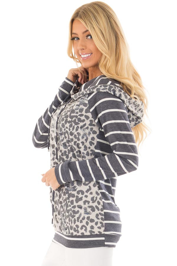 Ivory and Charcoal Leopard Print and Striped Hoodie side closeup