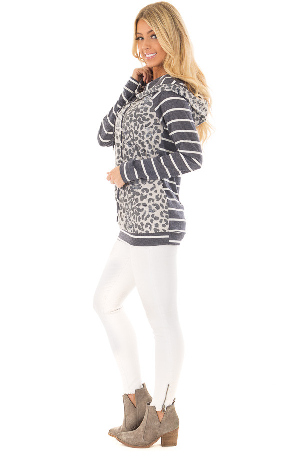 Ivory and Charcoal Leopard Print and Striped Hoodie side full body