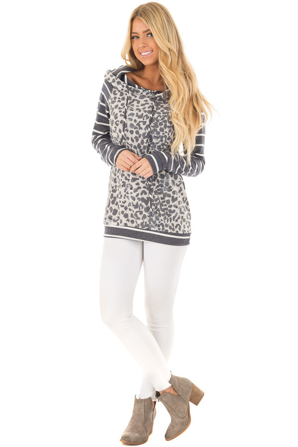 Ivory and Charcoal Leopard Print and Striped Hoodie front full body