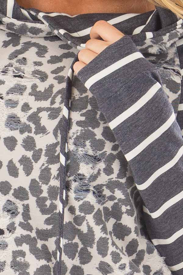 Ivory and Charcoal Leopard Print and Striped Hoodie front detail