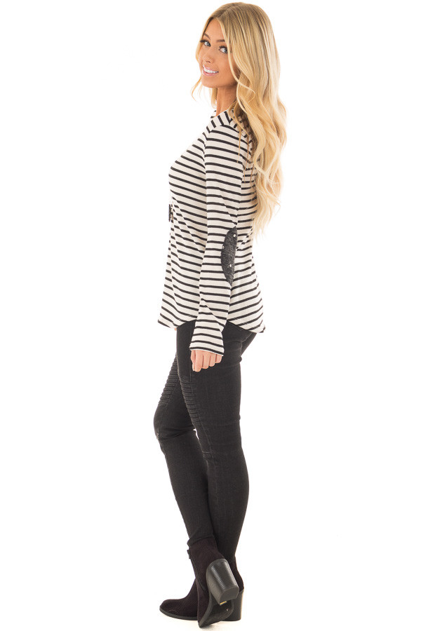 Ivory Striped Top with Charcoal Polka Dot Elbow Patches side full body