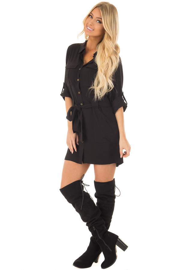 Black Button Up Long Sleeve Dress with Waist Tie and Pockets front full body