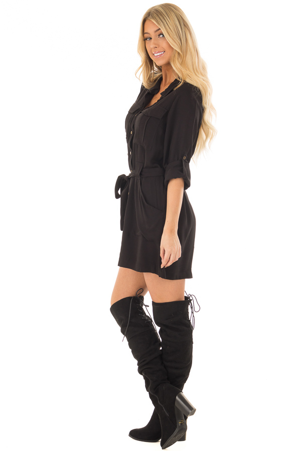 Black Button Up Long Sleeve Dress with Waist Tie and Pockets side full body