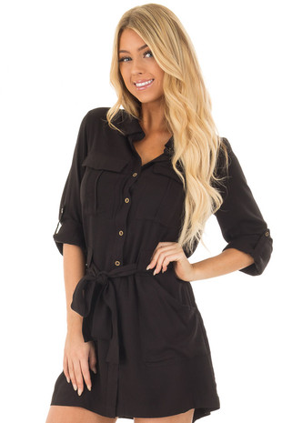 Black Button Up Long Sleeve Dress with Waist Tie and Pockets front close up